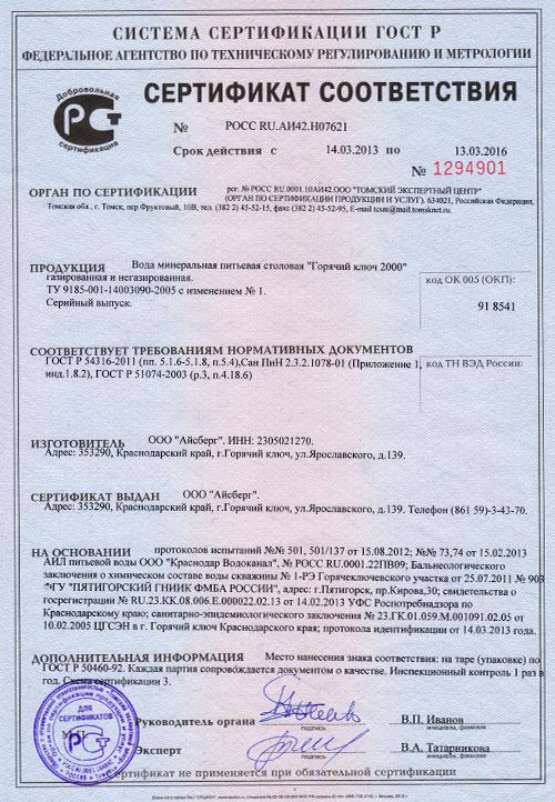 Сертификат соответствия №1294901